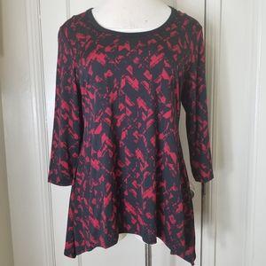 ASHLEY BLUE black red tunic 3/4 sleeve top